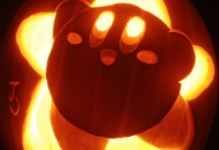 Kirby, still cute in jack-o-lantern form