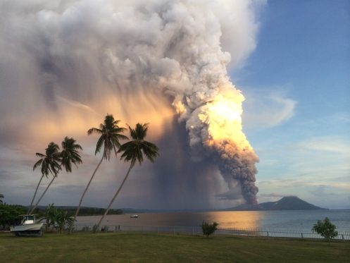 Mount Tavurvur erupts on Aug. 29 in eastern Papua New Guinea - Oliver Bluett