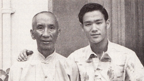 Bruce Lee (right) with his only formal martial art instructor, Yip Man