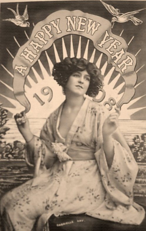 New Year card featuring edwardian actress Gabrielle Ray c. 1908.