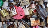 Some of the thousands of padlocks clipped by lovers onto the railings of the Pont des Arts bridge over the River Seine in Paris