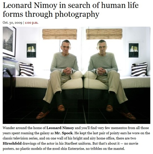 Leonard Nimoy in search of human life forms through photography