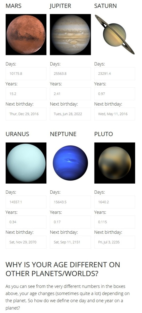 Your Age on Other Planets